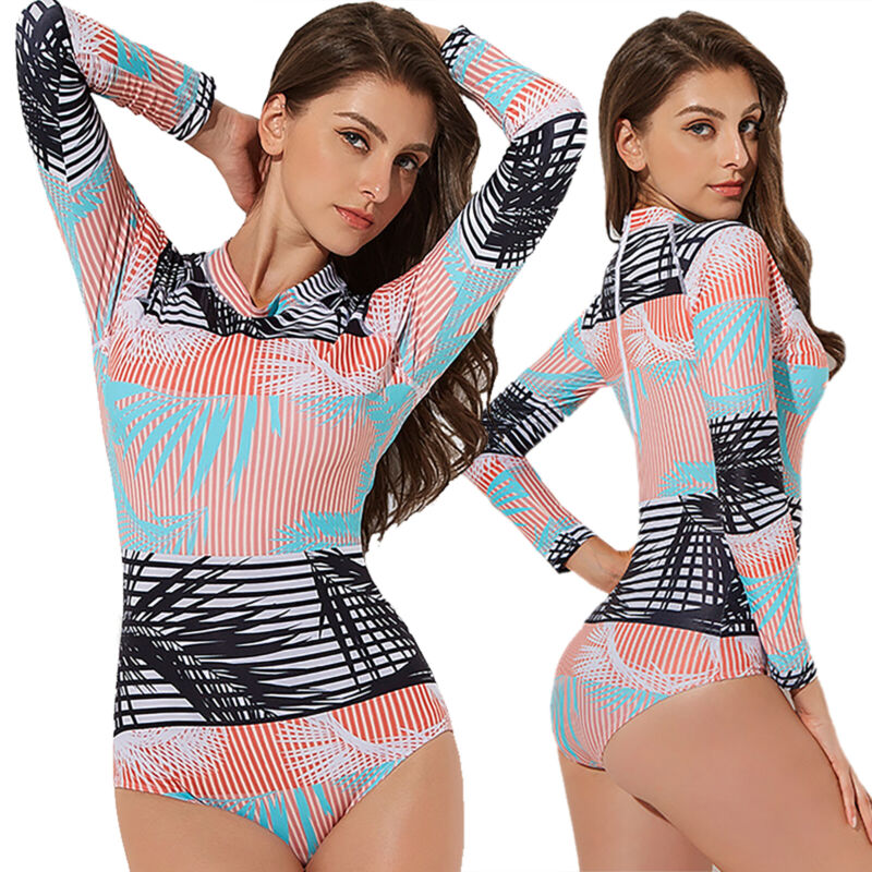 Damen Langarm Badeanzüge Monokini Einteiler Schwimmanzug Bademode Beachwear Sexy
