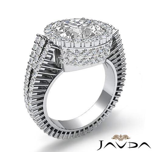 3.5ct Round Cut Diamond Halo Prong Set Engagement Ring GIA F VS2 14k White Gold 1