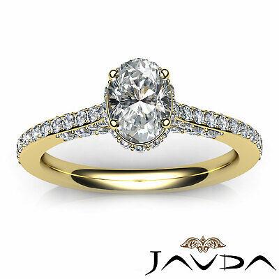Circa Halo Bridge Accent Oval Diamond Engagement Pave Set Ring GIA F VS1 1.15Ct 10