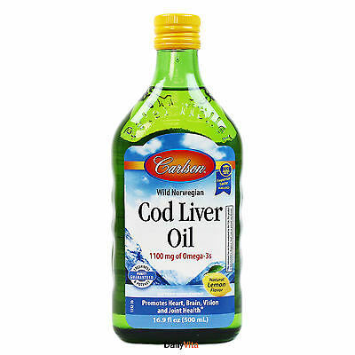 Carlson Norwegian Cod Liver Oil Lemon Flavor 16.9oz (500ml), FRESH, Great Taste