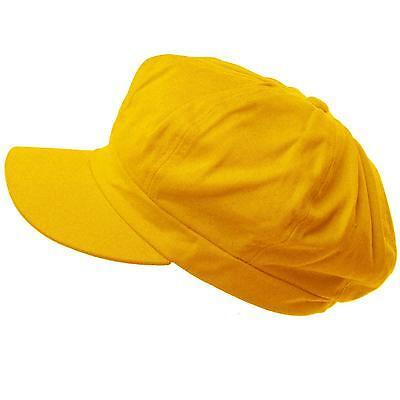 Summer 100% Cotton Plain Blank 6 Panel Newsboy Gatsby Cabbie Cap Hat Yellow