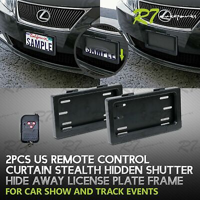 FOR CADDY/MAZDA! 2X POWERED REMOTE CURTAIN COVER HIDE AWAY LICENSE FRAME PLATE