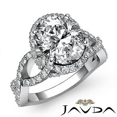 2.17ctw Halo Pave Cross-Shank Oval Diamond Engagement Ring GIA J-SI1 White Gold