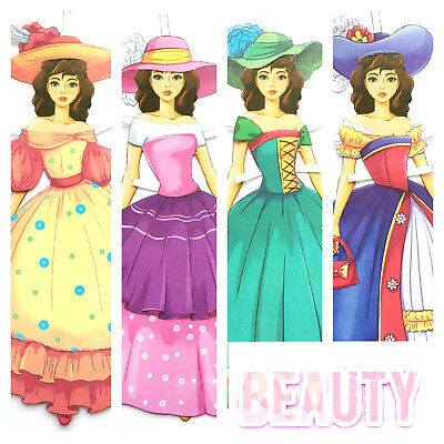 BEAUTY and the BEAST. 2 Paper dolls. Hobby Fun Kids Activity Fairy Tale Belle
