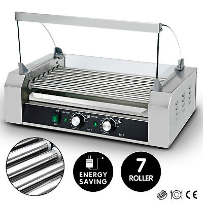 New Commercial 18 Hot Dog 7 Roller Grill Stainless Steel Cooker Machine Wcover