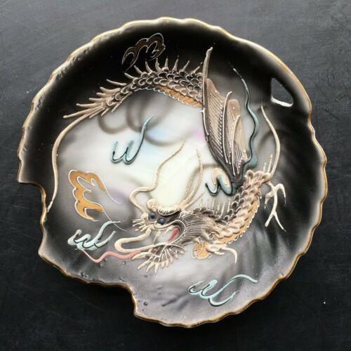Nippon Vintage Japan DRAGONWARE Plate Moriage Porcelain w/ Scalloped Edge