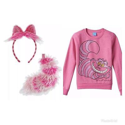 girls Cheshire Cat shirt Headband Tail Alice Wonderland Halloween Costume set](Cheshire Cat Costume Girl)