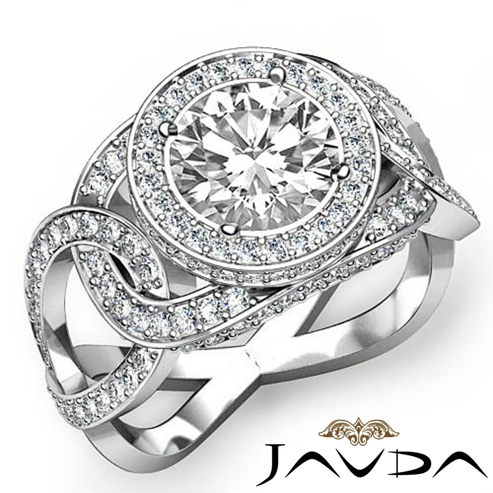 Twisted Halo Pave Set Round Diamond Engagement Anniversary Ring GIA H VS1 2.8Ct