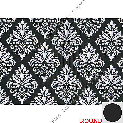 Black And White Plastic Tablecloth (BLACK WHITE DAMASK Flowers Thin Flannel Backing Vinyl TABLECLOTH 60