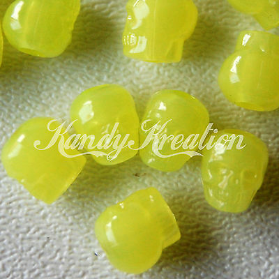 100 Yellow Glow in the dark Skull pony beads for kandi craft Halloween Sugar Kid