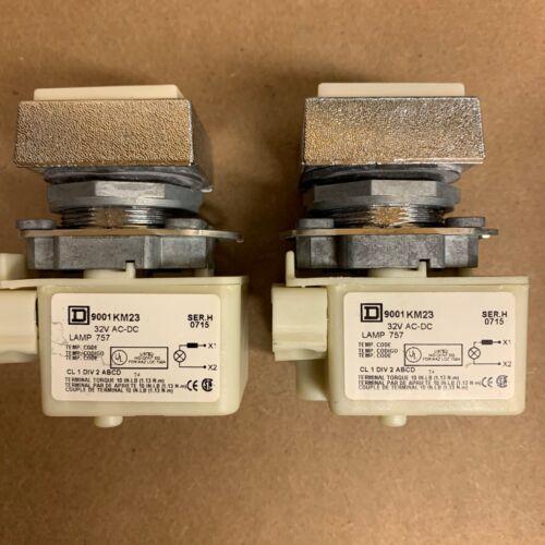 Lot of 2! Square D 9001 KM-23 Light Module Ser:H 32V AC/DC