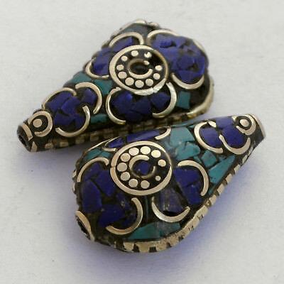 Turquoise Lapis Brass 2 Beads Nepalese Tibetan Handmade Tibet Nepal UB2463