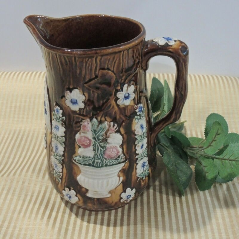 Antique Bargeware Dedicaion Pitcher English Pottery Dated 1881 Stratford England
