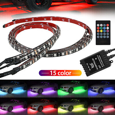 RGB 48 LED Strip Under Car Tube Underglow Underbody System 4Pcs Neon Lights Kit 10