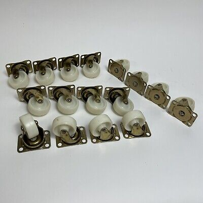 Vintage Swivel Casters Gold White Wheels Lot Of 16