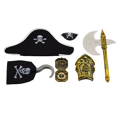 6pc Pirate Costume Accessories Pirate Hat Hook Eye Patch Compass Weapon Armor