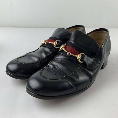 Vintage Gucci Men US 8.5 M Old Anil Black Leather Loafer Classic Brass Horsebit