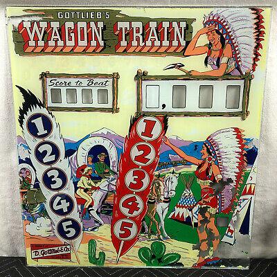 Gottlieb Wagon Train Pinball Machine Game Woodrail Backglass
