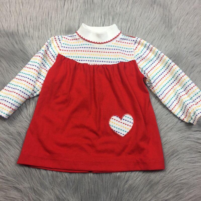 Vintage Healthtex Toddler Girls Red Rainbow Heart Top Tunic Pride