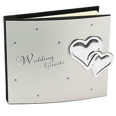 Juliana Libro de Invitados Boda Aluminio Cubierta Con Cristales & Hearts, Bonito