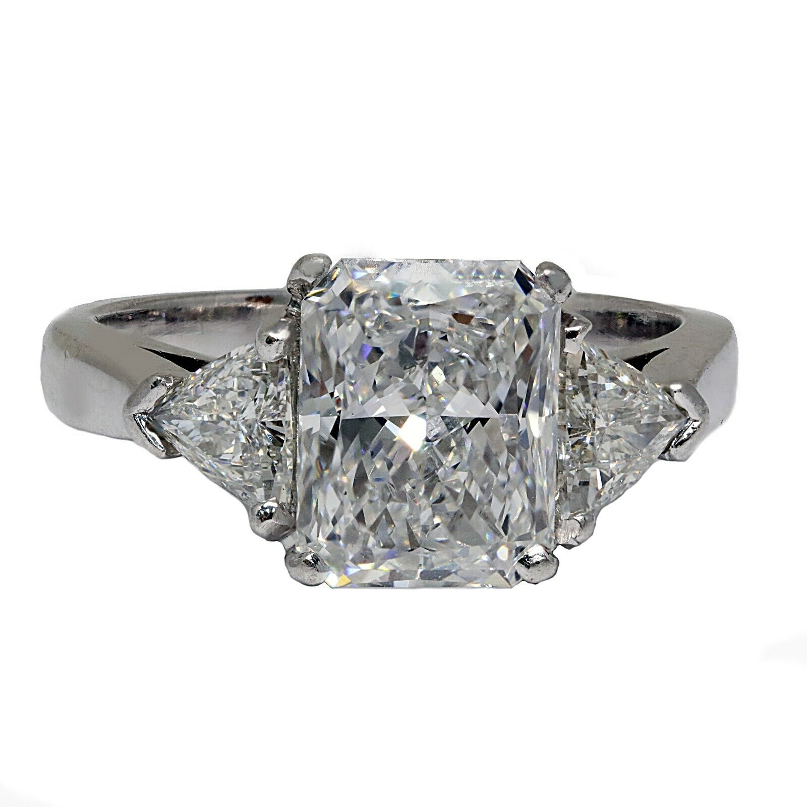 2.06 Ct GIA Radiant Diamond Engagement Ring & Triangle Platinum Diamond Ring