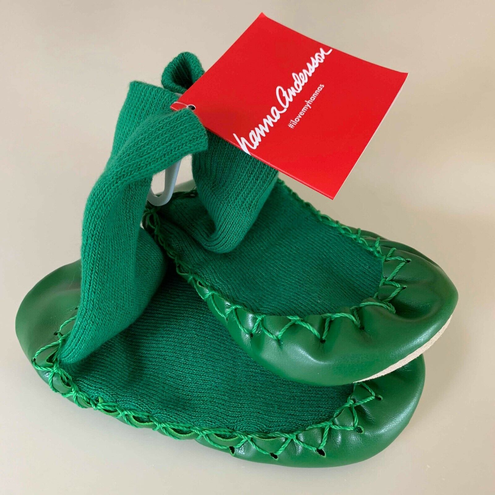 HANNA ANDERSSON Boys GREEN Moccasins Slippers. Size 12-1 Y