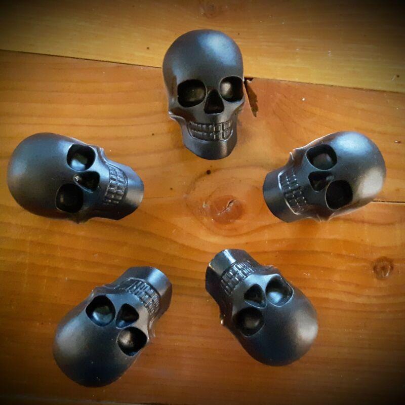Black Resin Skull Drawer Pull Cabinet Knobs - Set of 5