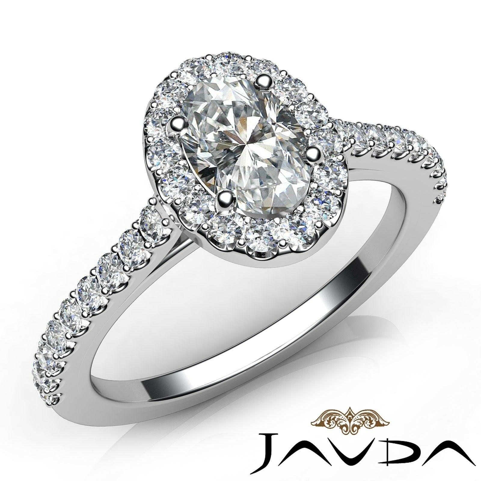 1.6ctw Prong Setting Oval Diamond Engagement Ring GIA H-VS1 White Gold Women New