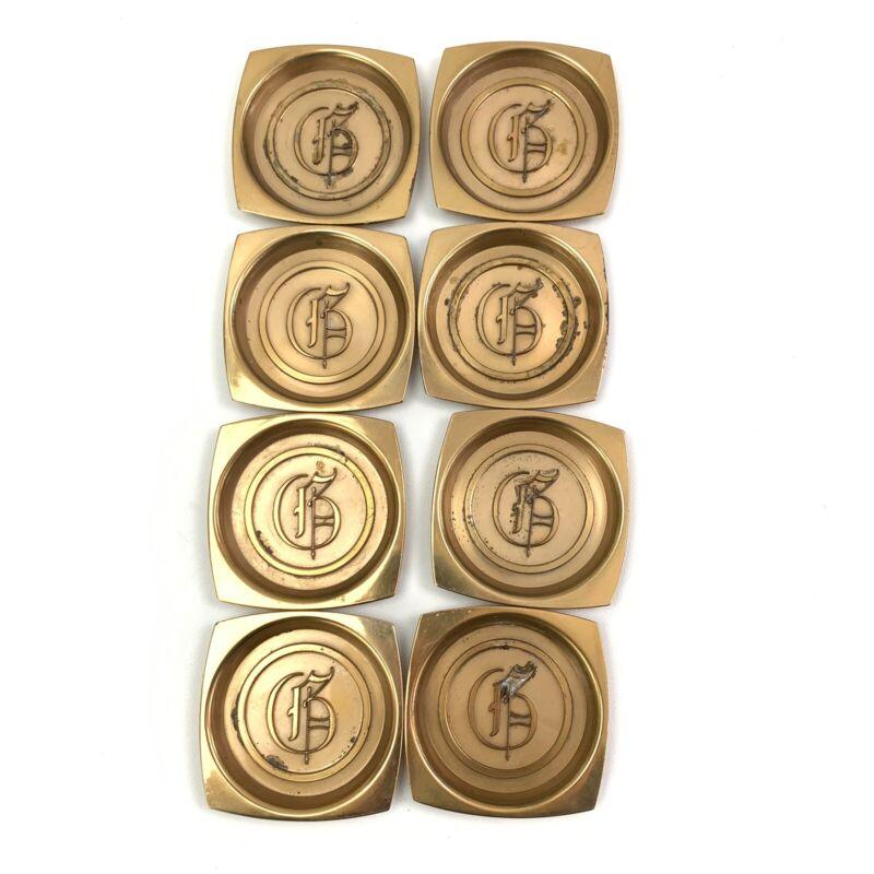 """Vintage Hyde Park Brass Coasters Set of 8 Monogramed Letter """"G"""""""