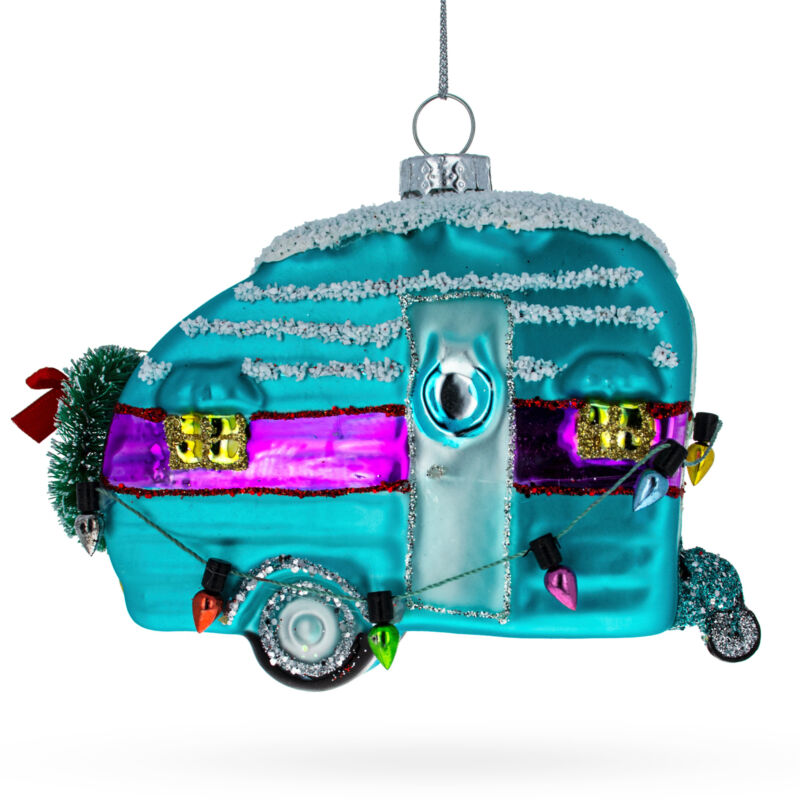 Blue Camper with Christmas Lights Glass Christmas Ornament