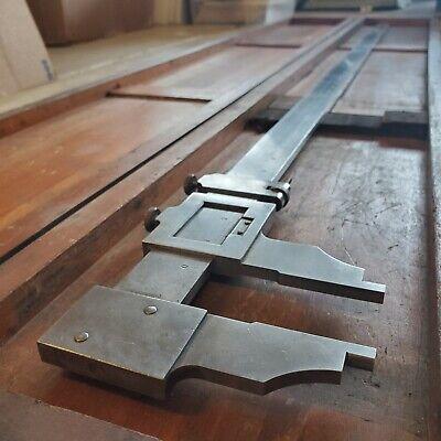 Rare Starrett 0-48 Vernier Caliper Model No. 122 Hardened Steel With Wood Case