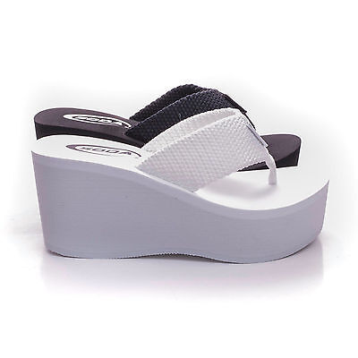 Womens Wedge Thong (New Womens Sandals Wedge Shoes Platform Heels Thong Flip Flops Soda OXLEY-S )