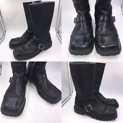 John Fluevog Size 10 UK 10.5 US Black Leather Zip Up Long Biker Boots Mens