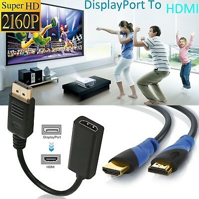 New 4K Display Port to HDMI Male Female Adapter Converter+ 4k HDMI Cable 2.0-US