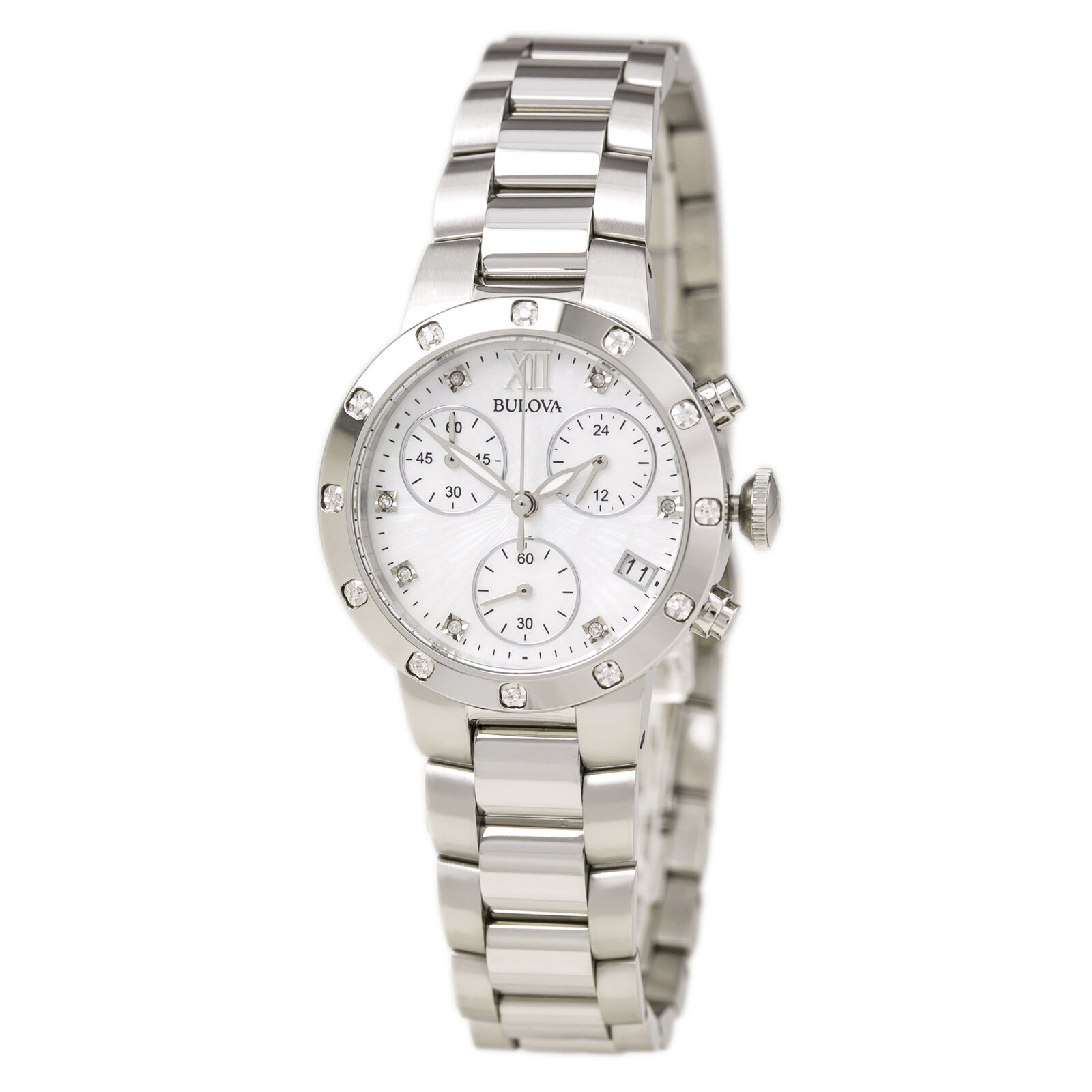 Bulova women 39 s 96r202 diamond chronograph quartz mother of pearl dial watch ebay for Pearl watches