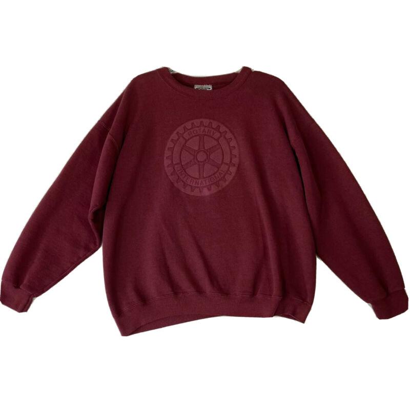 VTG Rotary International Sweatshirt Crewneck Pullover Red Maroon Lee adult XL