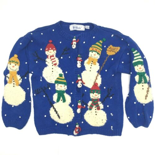 VTG BELLEPOINTE Blue Sweater Jumper Kids Large Holiday Christmas Snowmen