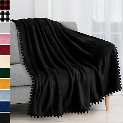 Fleece Throw Blanket With Pom Pom Fringe Super Soft Lightweight Bed Couch Home
