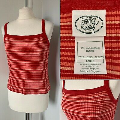 Laura Ashley Vintage Tank Vest Top 100% Cotton Orange Red Stripes Summer Size L