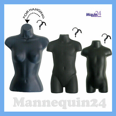 Female Child Toddler Mannequin Set -black Hanging Torso Dress Forms 3 Hangers