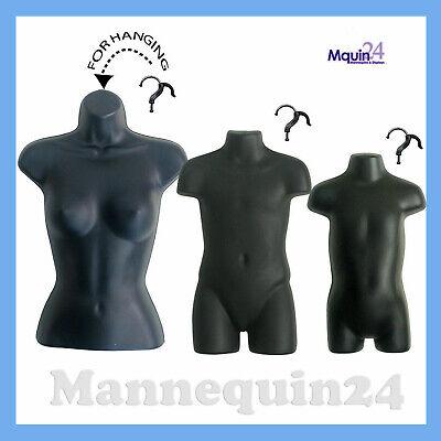 Female Child Toddler Mannequin Set -black Hanging Torso Dress Forms 3 Hangers