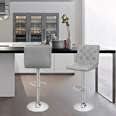 Set of 2 Adjustable 360 Degree Swivel Backrest Fabric Bar stools Button-Tufted