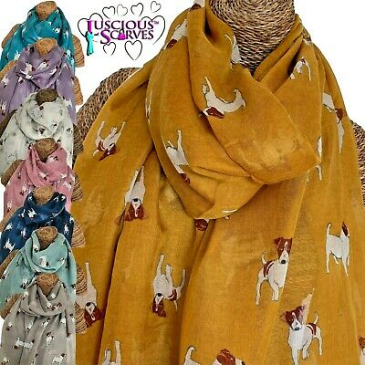 LADIES SCARF WITH PRINTED JACK RUSSELL DOG SUPERB QUALITY SARONG 6 NEW COLOURS