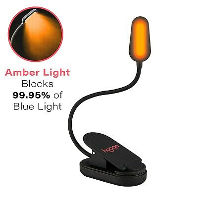 Hoogalite Blue Blocking Rechargeable Amber LED Clip-On Book Light.