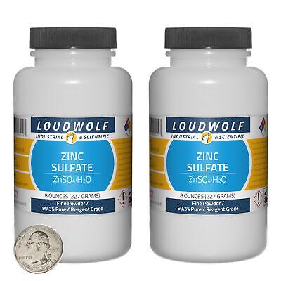 Zinc Sulfate 1 Pound 2 Bottles 99.3 Pure Reagent Grade Fine Powder