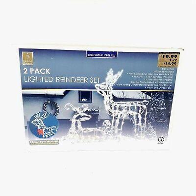 Holiday Seasons Set of 2 Lighted Reindeer Christmas Outdoor Deer Buck Sculptures Buck Deer Outdoor Light