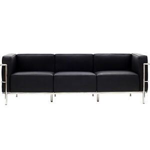 LexMod Le Corbusier Style LC3 Sofa in Genuine Black Leather