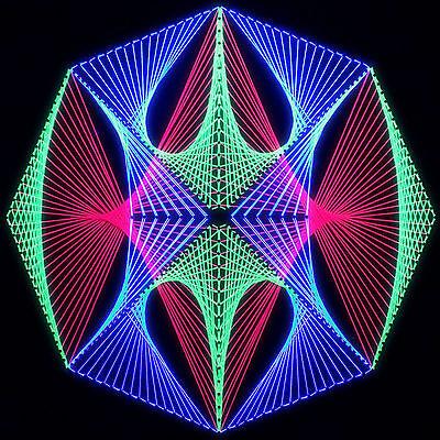 Stringart UV Deko - Goa Psy Trance Party - Schwarzlicht Fadenkunst - Achteck 6