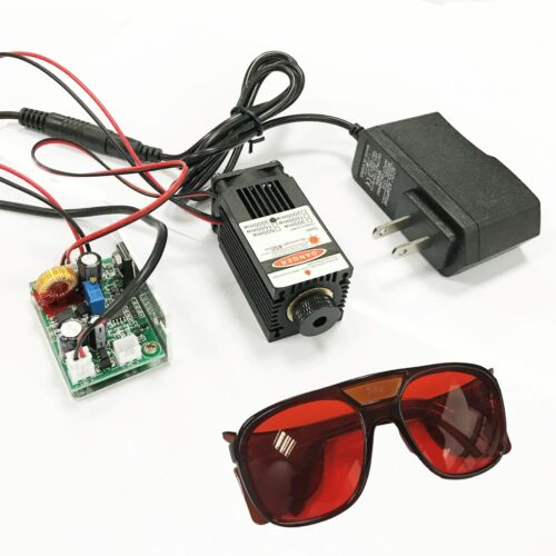 Focusable High Power 450nm 2.5W Blue Laser Module TTL Carving/Burn Gift Goggles