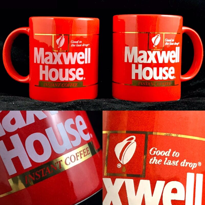 Vintage Maxwell House Coffee Mugs GOOD TO LAST DROP PROMO A+++